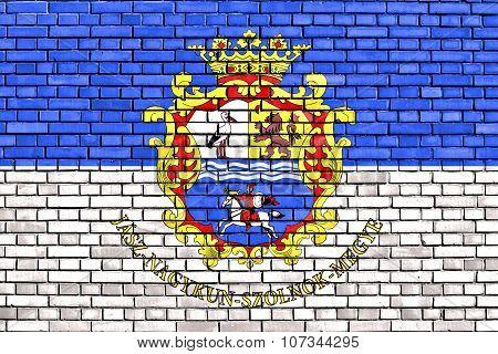 Flag Of Jasz-nagykun-szolnok County Painted On Brick Wall