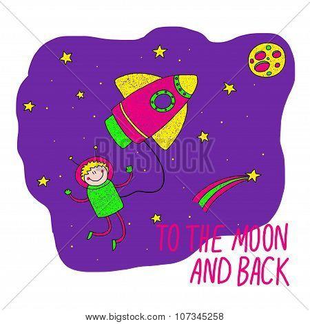 Creativity learning. Rocket ship and astronaut.