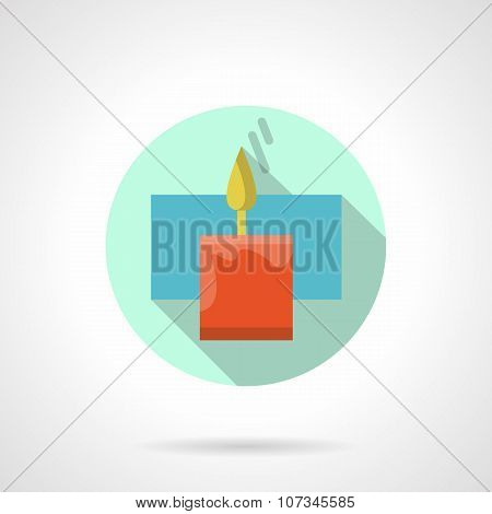 Red wax candle flat color vector icon