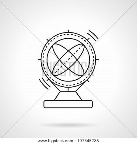 Flat line magnetic pendulum vector icon