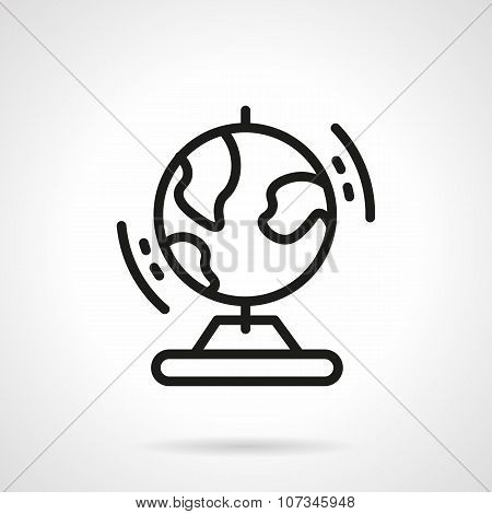 Black simple line globe vector icon