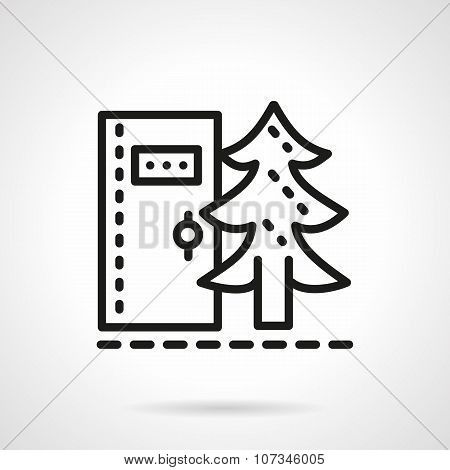 Camping toilet black line vector icon