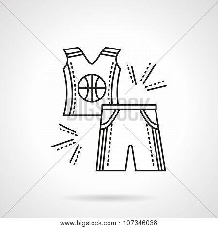 Basketball uniform flat line vector icon