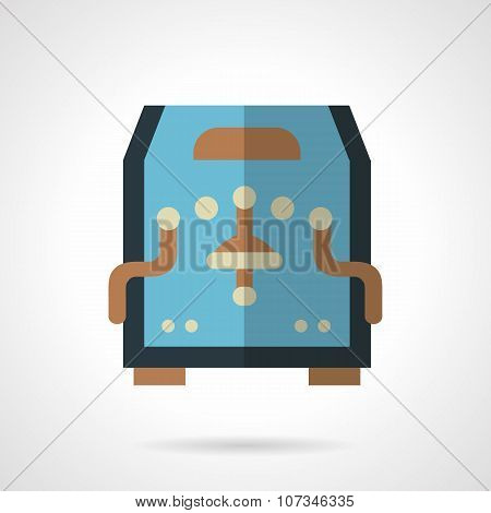 Blue coffee machine flat color vector icon