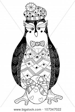 Egg and penguin doodle vector illustration.