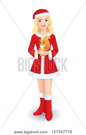 Santa Blonde Girl With Squirrel