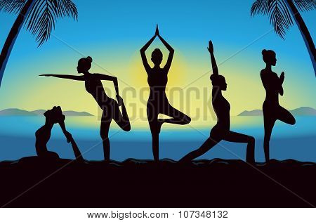 Silhouette of women group posing different yoga posture