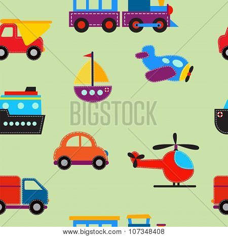 seamless pattern with cute baby transport toys