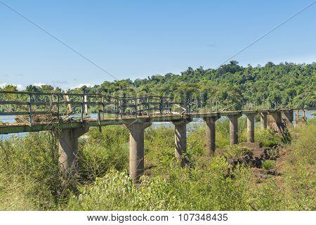 Abandonede Birdge At Parana River At Iguazu Falls
