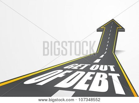 detailed illustration of a highway road going up as an arrow with Get out of Debt  text, eps10 vector