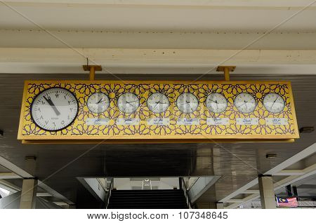Old wall clock with arabic fond. The National Mosque of Malaysia a.k.a Masjid Negara