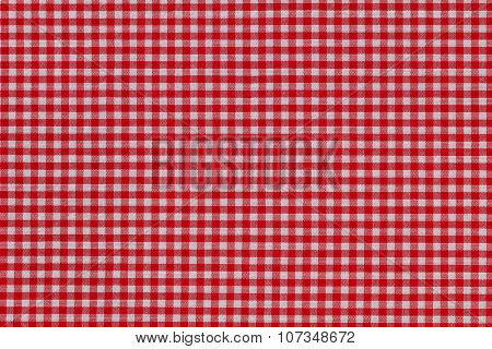 Closeup background photo of fabric in red and white