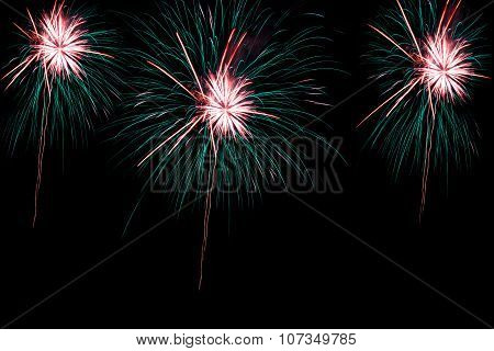 Fireworks over the city celebrate in happy festival.