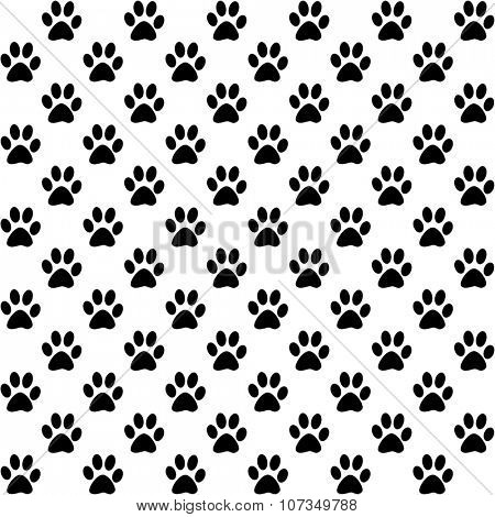 Paw prints in black on white background, a seamless pattern