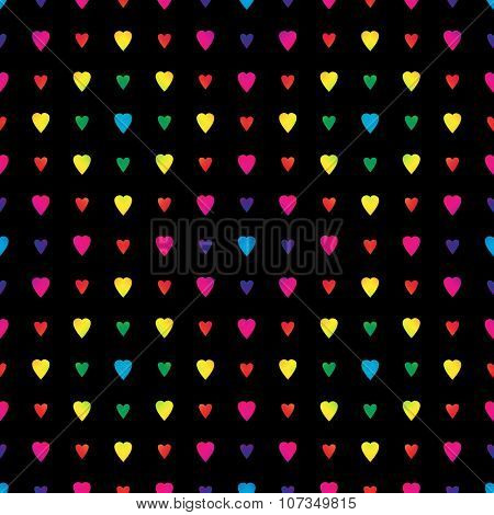 Rainbow hearts in a diamond pattern on black background, a seamless pattern