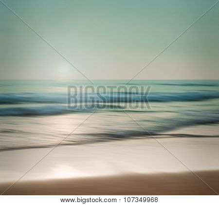 An Abstract Seascape With Blurred Panning Motion On Paper Background