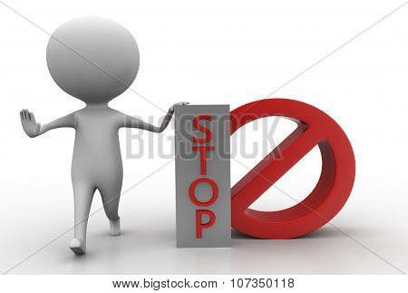 3D Man Showing Restricting With His Hands And Presenting Stop Concept