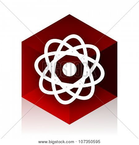 atom red cube 3d modern design icon on white background