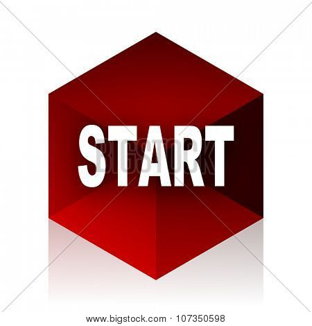 start red cube 3d modern design icon on white background