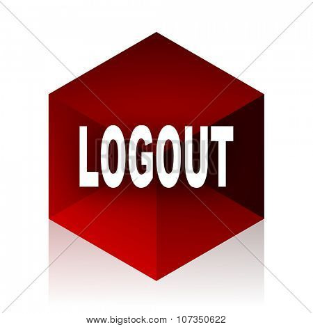 logout red cube 3d modern design icon on white background