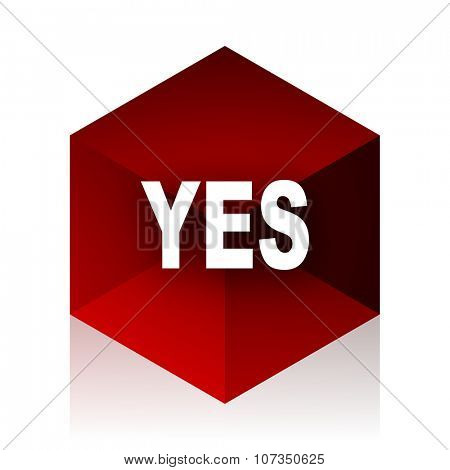 yes red cube 3d modern design icon on white background