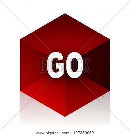 go red cube 3d modern design icon on white background
