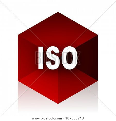 iso red cube 3d modern design icon on white background