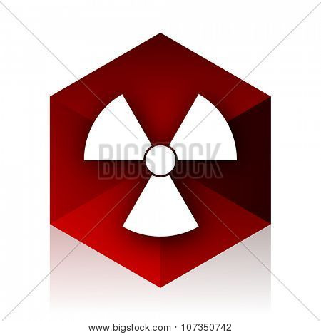 radiation red cube 3d modern design icon on white background