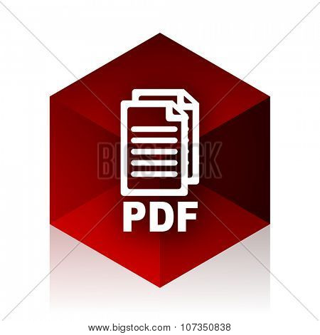 pdf red cube 3d modern design icon on white background ,
