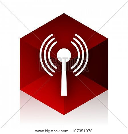 wifi red cube 3d modern design icon on white background