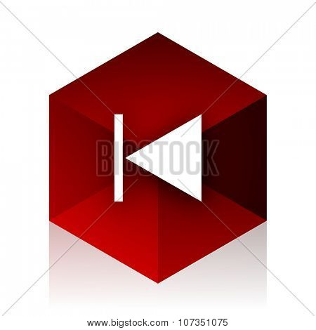 prev red cube 3d modern design icon on white background