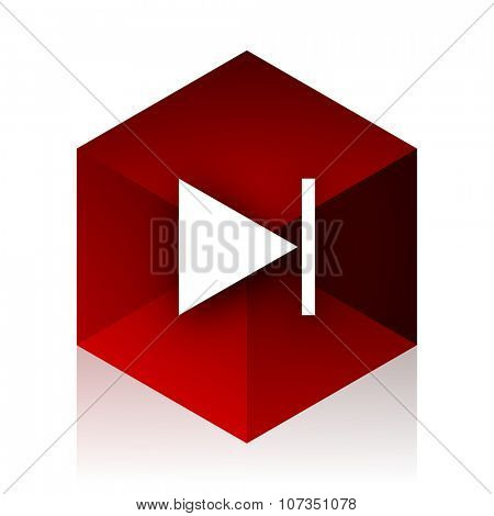 next red cube 3d modern design icon on white background