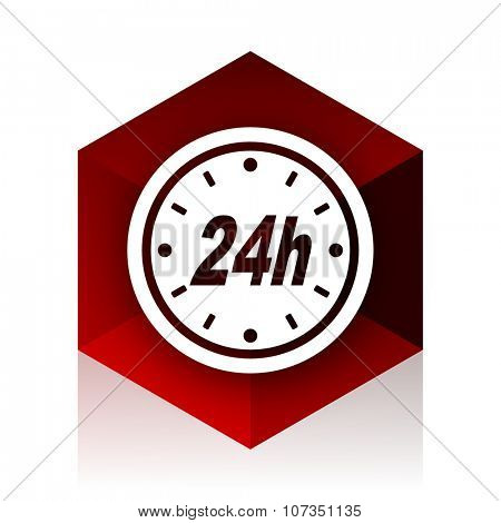 24h red cube 3d modern design icon on white background