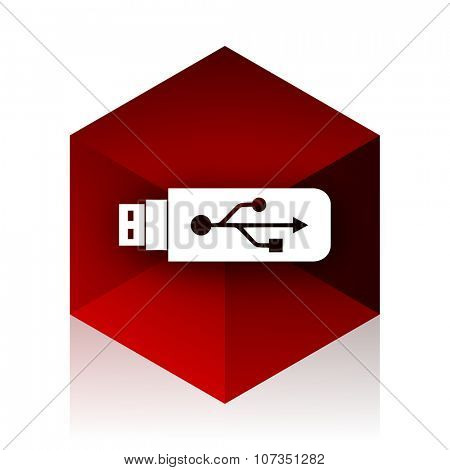 usb red cube 3d modern design icon on white background