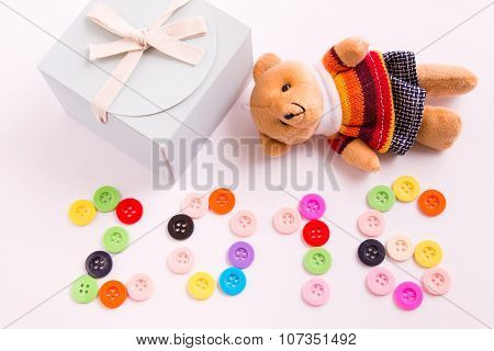 2016 new year is coming, Lovely bear doll is coming to celebrate season. be wish you happy.