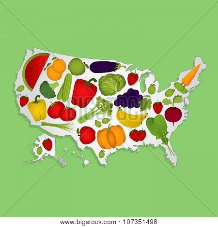 Map Of Usa With Fruits