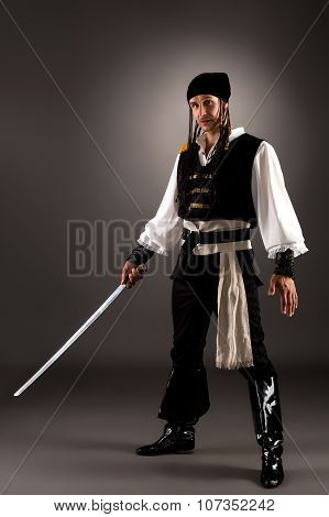 Attractive man dressed pirate for Halloween