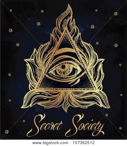 All seeing eye pyramid symbol illustration.