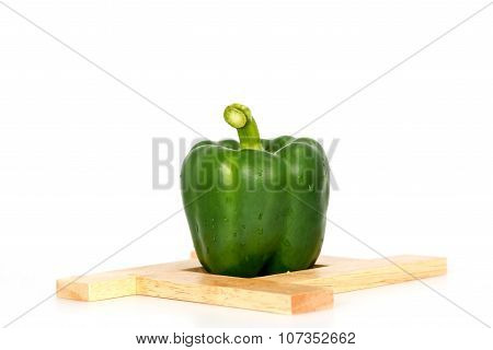 Green Sweet Bell Pepper (capsicum) Isolated On White