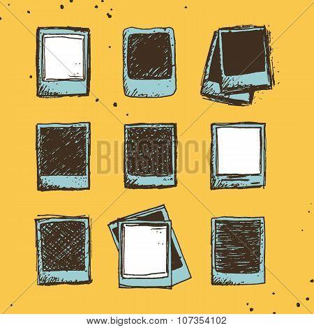 Set Of 9 Hand Drawn Sketchy Polaroid Doodles In Vintage Color Palette