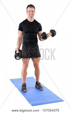 young man fitness instructor shows finishing position of standing dumbbell dumbbell biceps curl, isolated on white