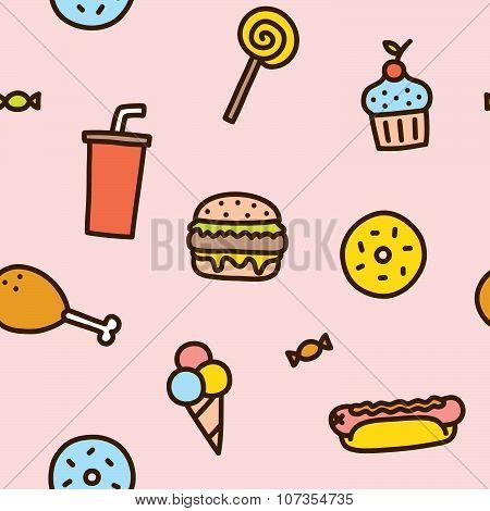 Junk food seamless pattern