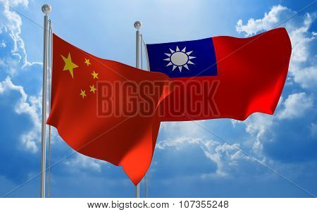 China and Taiwan flags flying together for diplomatic talks