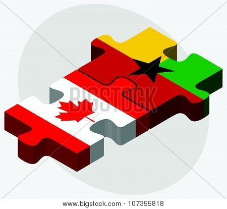 Canada And Guyana Flags