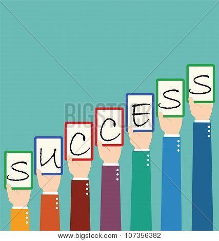 Businessman Hold Success Wording Tag