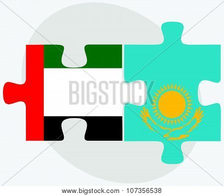 United Arab Emirates And Kazakhstan Flags