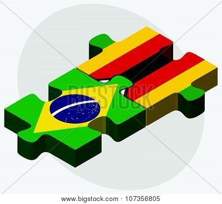 Brazil And Zimbabwe Flags