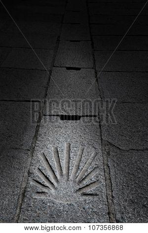 The way of Saint James shell sign in Santo Domingo de la Calzada La Rioja