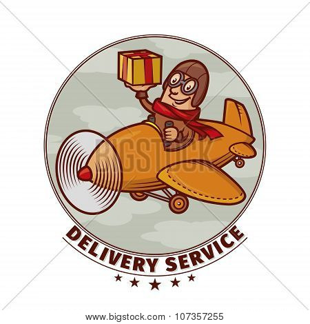 Delivery Emblem With Smiling Pilot