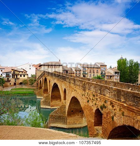 Puente de la Reina in Saint James Way bridge over Arga River in Pamplona